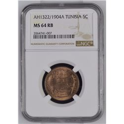 Tunisia 1322//1904 A 5 Centimes NGC MS64 Red Brown *ONLY 24 GRADED*