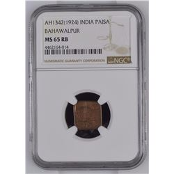 India 1342/1924 Paisa Bahawalpur NGC MS65 Red Brown *ONLY 1 GRADED*