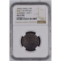 India 1835c 1/4 Anna S& W-1.95 Type B/5 24 Berries Flat 1 NGC MS63 Brown *ONLY 4 GRADED*