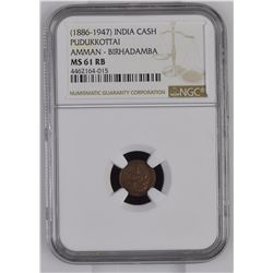 India 1886-1947 Cash Pudukkottai Amman Birhadamba NGC MS61 Red Brown *ONLY 1 GRADED*