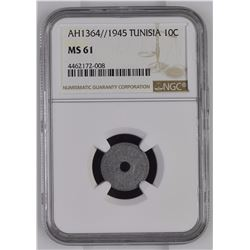 Tunisia 1364/1945 10 Centimes NGC MS61 *ONLY 2 GRADED*