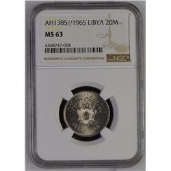 Libya 1385//1965 20 Milliemes NGC MS63 *ONLY 1 GRADED*