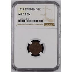 Sweden 1922 Ore NGC MS62 Brown *ONLY 1 GRADED*