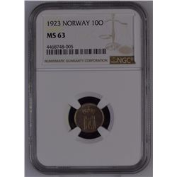 Norway 1923 10 Øre NGC MS63 *ONLY 1 GRADED*