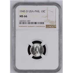 USA-PHIL 1945 D 10 Centavos NGC MS66 *ONLY 42 GRADED*