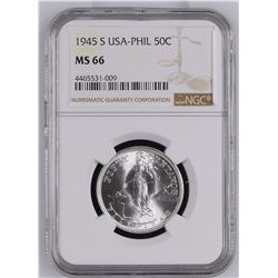 USA-PHIL 1945 S 50 Centavos NGC MS66 *ONLY 49 GRADED*