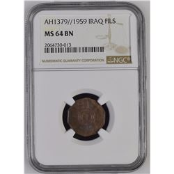 Iraq 1379//1959 Fils NGC MS64 Brown *ONLY 1 GRADED*