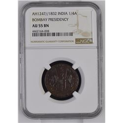 India 1247//1832 1/4 Anna Bombay Presidency NGC AU55 Brown *ONLY 1 GRADED*