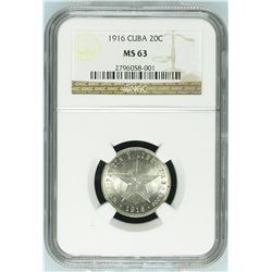 Cuba 1916 20 Centavos NGC MS63 *ONLY 19 GRADED* *HIGH GRADE*