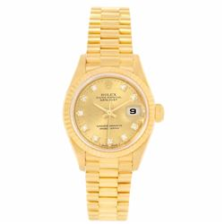 Rolex President 18KT Yellow Gold Diamond Datejust Ladies Wristwatch