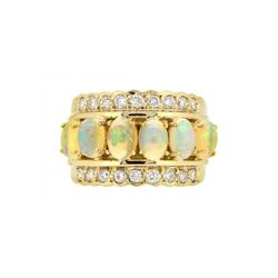 14KT Yellow Gold 1.85ctw Opal and Diamond Ring