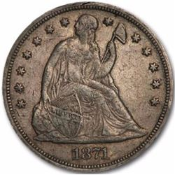 1871 Seated Liberty Dollar Coin