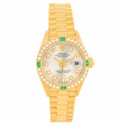 Rolex President 18KT Yellow Gold Emerald and Diamond Datejust Ladies Wristwatch