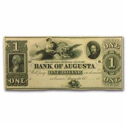 1800's $1 Bank of Augusta Obsolete Bank Note