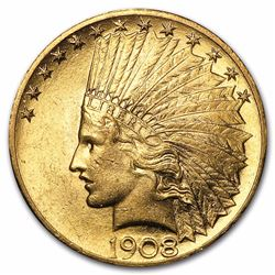 1908 $10 Indian Head Eagle Gold Coin