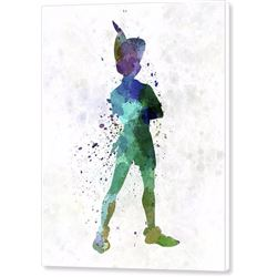 Peter Pan In Watercolor Print on Canvas