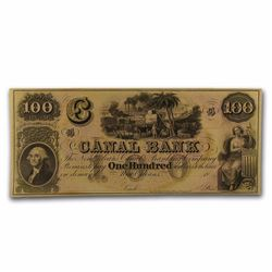 1800's $100 Canal Bank of New Orleans Obsolete Bank Note