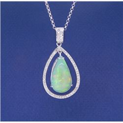 14KT White Gold 14.86ct Opal and Diamond Pendant with Chain