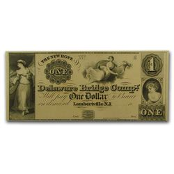 1800's $1 Delaware Bridge Comp Obsolete Bank Note