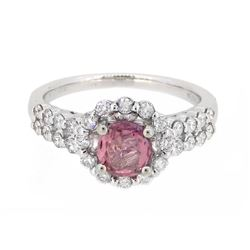 18KT White Gold 1.00ct Padparadscha Sapphire and Diamond Ring
