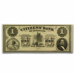 1800's $1 Citizens Bank of Louisiana Obsolete Bank Note