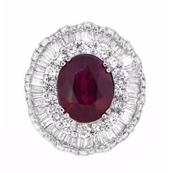 18KT White Gold 4.78ct Ruby and Diamond Ring
