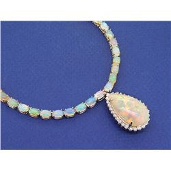 14KT Yellow Gold 31.85ctw Opal and Diamond Necklace
