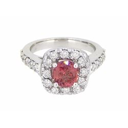 18KT White Gold 1.24ct Padparadscha Sapphire and Diamond Ring