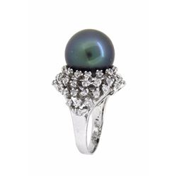 14KT White Gold 14mm Tahitian Pearl and Diamond Ring