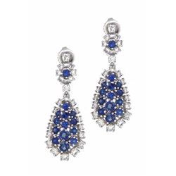 14KT White Gold 2.63ctw Sapphire and Diamond Earrings
