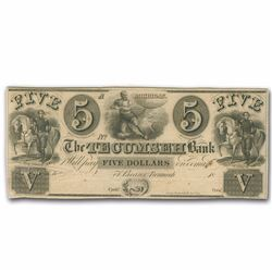 1800's $5 Tecumseh Bank Obsolete Bank Note