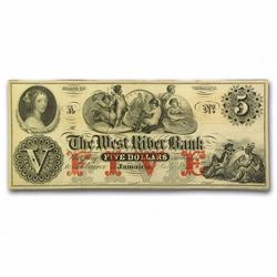 1800's $5 The West River Bank Obsolete Bank Note