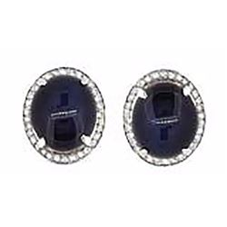 14KT White Gold 54.55ctw Star Sapphire and Diamond Earrings