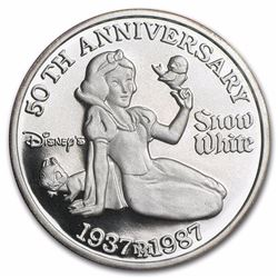 Disney Snow White 50th Anniversary Silver Coin