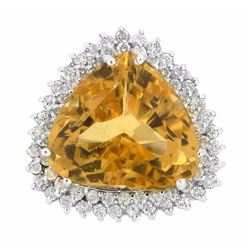 14KT White Gold 24.76ct Citrine and Diamond Ring