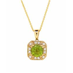 14KT Yellow Gold 1.63ct Peridot and Diamond Pendant with Chain