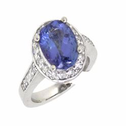 14KT White Gold 3.62ct Tanzanite and Diamond Ring