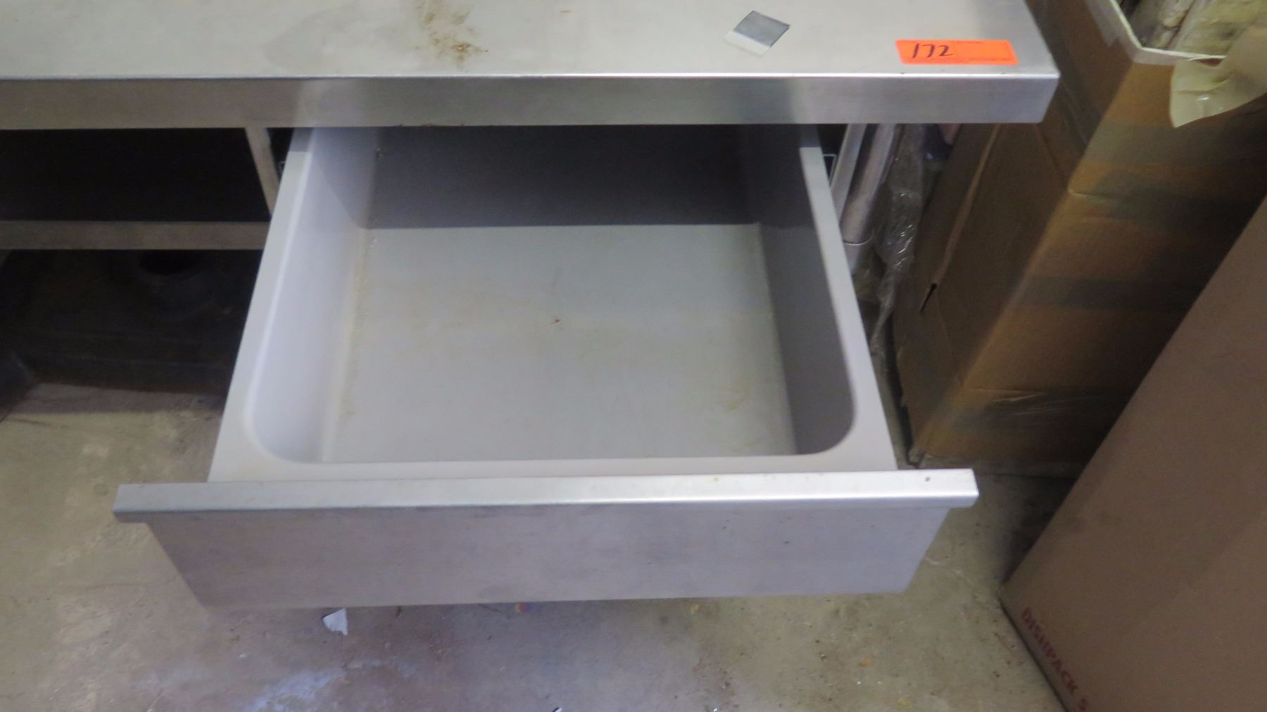 Small stainless steel table w pull out drawer for Small pull out desk