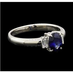 0.95 ctw Sapphire and Diamond Ring - Platinum