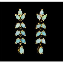 1.90 ctw Opal Earrings - 14KT Yellow Gold