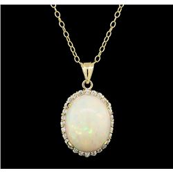 13.41 ctw Opal and Diamond Pendant With Chain - 14KT Yellow Gold