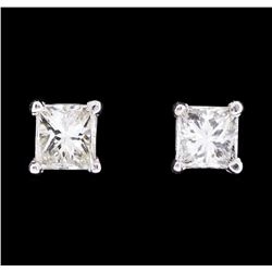 0.58 ctw Diamond Stud Earrings - 14KT White Gold
