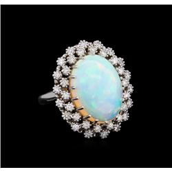9.92 ctw Opal and Diamond Ring - 14KT White Gold