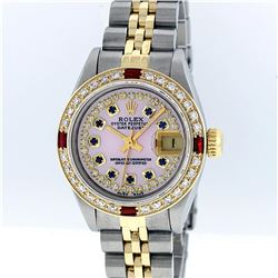 Rolex Two-Tone Pink MOP Sapphire and Ruby Diamond DateJust Ladies Watch
