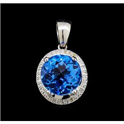 6.00 ctw Blue Topaz and Diamond Pendant - 14KT White Gold