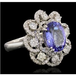 14KT White Gold 3.23 ctw Tanzanite and Diamond Ring