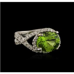 3.00 ctw Peridot and Diamond Ring - 18KT White Gold