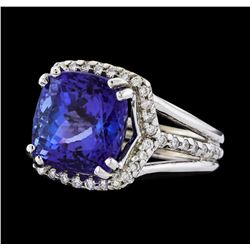 GIA Cert 8.89 ctw Tanzanite and Diamond Ring - 14KT White Gold