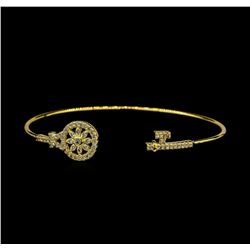 CZ Key Open Bangle Bracelet - Gold Plated