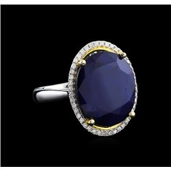 14KT Two-Tone Gold 13.11 ctw Sapphire and Diamond Ring